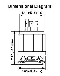 Leviton 2321 20 Amp, 250 Volt, NEMA L6-20P, 2P, 3W, Locking ... on nema l14-30r wiring-diagram, l6-30r receptacle wiring-diagram, l15-30r wiring-diagram, nema 6-20r wiring-diagram, l6-20p wiring-diagram, hbl2323 wiring-diagram,