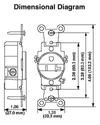 Leviton 5661-I 15 Amp, 250 Volt, NEMA 6-15R, 2P, 3W, Narrow ... on