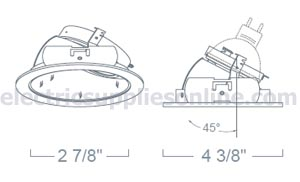 Liton LR1371W 3 Low Voltage Reflector Wall Wash Recessed Lighting