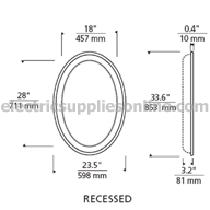 Tigris Oval Recessed Dimensions